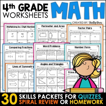 4th Grade Math Homework for the Year Bundle Distance Learning