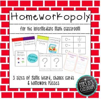 Math Homeworkopoly for the Intermediate Level