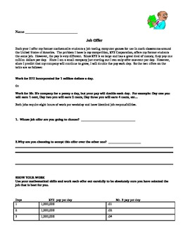 Math Hook - Job Offer - Great Activity to get kids excited
