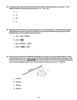 Math I/Algebra 1 End of Course (EOC) Practice Test No. 1 (with Answer Key)