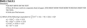 Math I/Algebra I Test # 1 (ANSWER KEY INCLUDED)