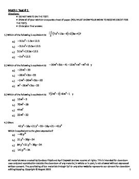 Math I/Algebra I Test # 1