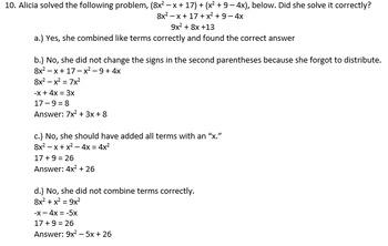 Math I/Algebra I Test # 2
