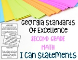Math I CAN Statements for  Second Grade Georgia Standards