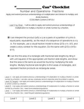 5th grade math common core I Can Rubrics