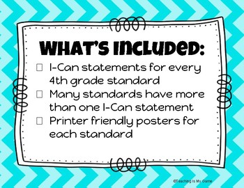 Math I-Can Statements 4th Grade