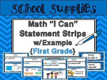 "Math ""I Can"" Statements {First Grade}"