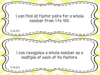 "Math ""I Can"" Statements Fourth Grade Common Core"