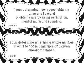 "Math ""I Can"" Statements Fourth Grade Common Core"