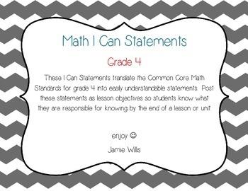 Math I Can Statements Grade 4