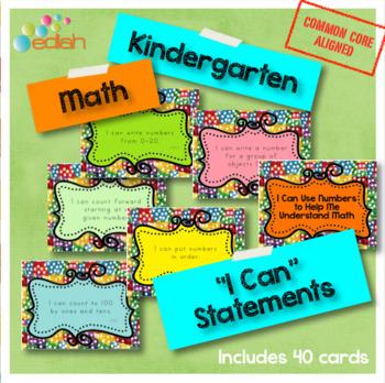 Math 'I Can' Statements-Kindergarten-Common Core