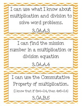 Math I Can Statements for 3rd Grade