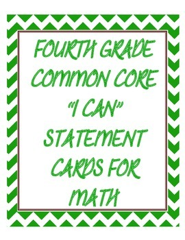 Math I Can Statements for 4th Grade