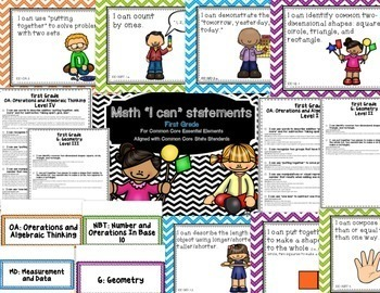 """Math """"I Can"""" Statements for Common Core Essential Elements (First Grade)"""