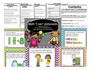 "Math ""I Can"" Statements for Common Core Essential Elements (Second Grade)"