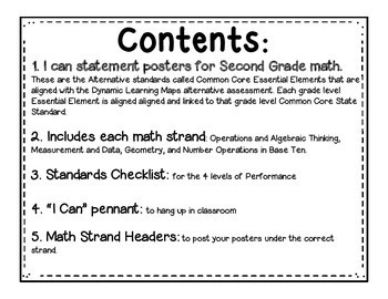"""Math """"I Can"""" Statements for Common Core Essential Elements (Second Grade)"""