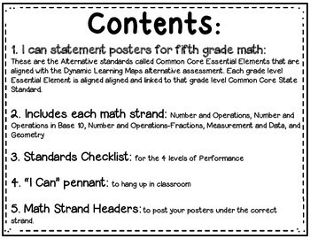 Math I Can Statements for Common Core Essential Elements (fifth grade)