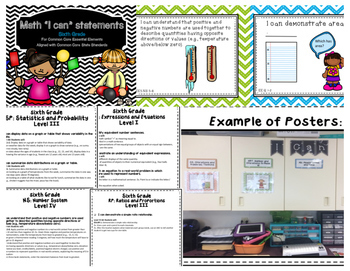 Math I Can Statements for Common Core Essential Elements (sixth grade)