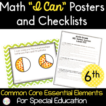 """Math """"I Can"""" Statements for Common Core Essential Elements (sixth grade)"""