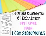 Math I Can Statements for First Grade Georgia Standards of