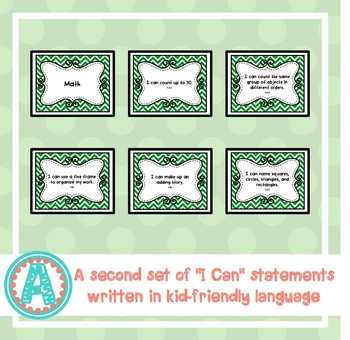 "Math ""I Can"" Statements for Pre-K and Preschool"