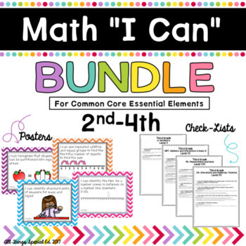 """Math """"I Can"""" poster Bundle 2nd-4th for Common Core Essential Elements"""