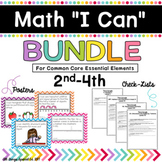 "Math ""I Can"" poster Bundle 2nd-4th for Common Core Essential Elements"