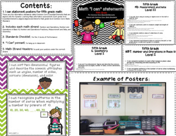 """Math """"I Can"""" poster Bundle 4th-6th for Common Core Essential Elements"""