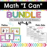 "Math ""I Can"" poster Bundle 4th-6th for Common Core Essential Elements"