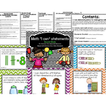 """Math """"I Can"""" poster Bundle K-3rd for Common Core Essential Elements"""