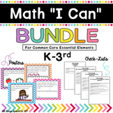"Math ""I Can"" poster Bundle K-3rd for Common Core Essential Elements"