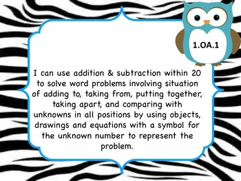 Math I Can statements for Common Core Owls and Zebra
