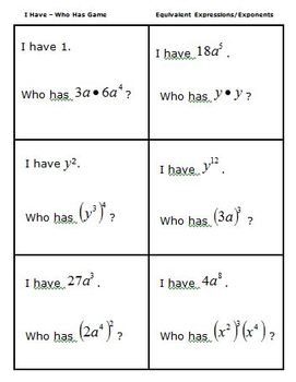 Math I Have - Who Has Game