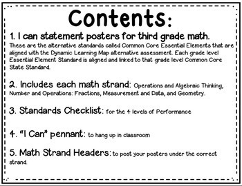 Math I can Statements for Common Core Essential Elements (third grade)