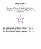 Math II - Advanced Quadratic Functions Unit Notes (Unit 4)