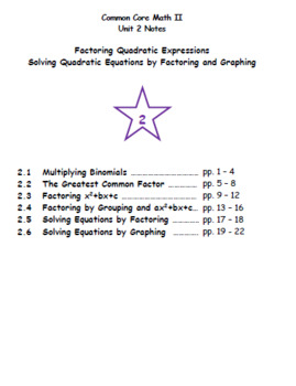 Math II - Factoring Quadratic Expressions Unit Notes (Unit 2)
