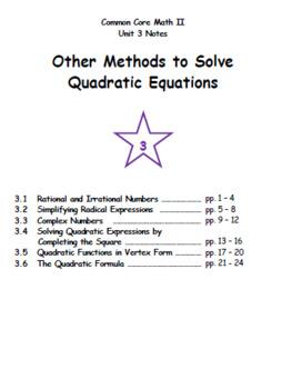 Math II - Other Methods to Solve Quadratic Equations Unit Notes (Unit 3)