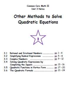 Math II - Other Methods to Solve Quadratic Equations Unit Notes (Unit 3)