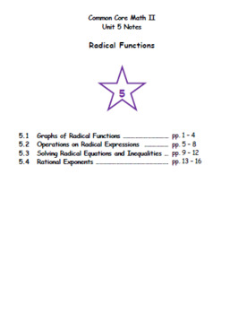 Math II - Radical Functions Unit Notes (Unit 5)