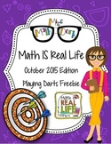 Math IS Real Life October 2015 FREEBIE - mental math dart game