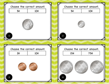 Math Identifying Money with Cents Symbol Task Cards for Centers or Scoot