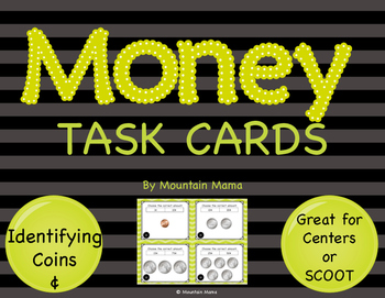 Math Identifying Money with Cents Symbol Task Cards for Ce