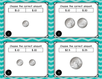 Math Identifying Money with Decimal Symbol Task Cards for Centers or Scoot