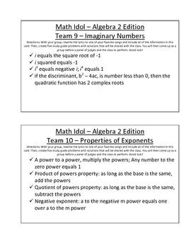 Math Idol Algebra 2 Edition