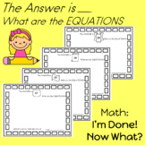 Math Center Activities   I'm Done! Now What?     First Grade Enrichment