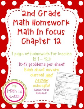 Math In Focus 2nd Grade Chapter 12 Homework By Math Is Sweet Tpt