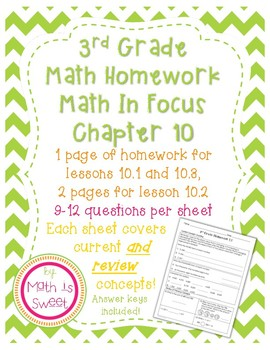 Math In Focus 3rd Grade Chapter 10 HOMEWORK!