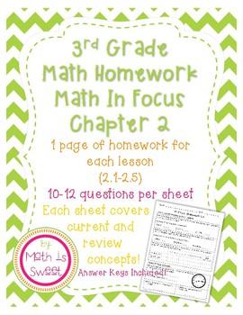 Math In Focus 3rd Grade Chapter 2 Homework By Math Is Sweet Tpt