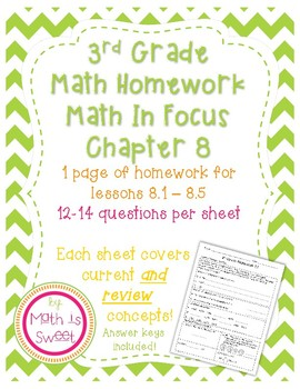 Math In Focus 3rd Grade Chapter 8 HOMEWORK!