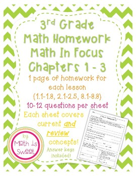 Math In Focus 3rd Grade Chapters 1-3 HOMEWORK!